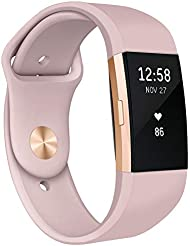Kmasic Compatible for Fit bit Charge 2 Strap, Soft Silicone Replacement Strap Adjustable Sport Bands Wristband Accessories for Fit bit Charge 2 fitness Smartwatch, Women Men, Small Large