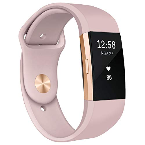 Kmasic Armband kompatibel f¨¹r Fitbit Charge 2, Weiches Silikon Sport armb?nder Zubeh?r Armband f¨¹r Fitbit Charge 2, Frau M?nner, Klein, Sand Pink mit Goldknopf