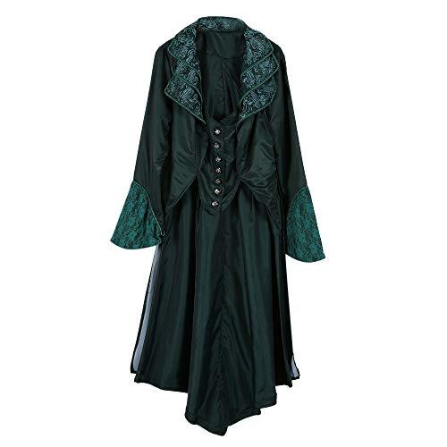 FRAUIT Damen Steampunk Gothic Samt mittelalterliche Revers Mantel -