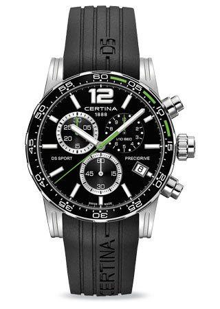 Certina DS Sport Homme Bracelet Silicone Noir Boitier Acier Inoxydable Quartz Montre C027.417.17.057.01