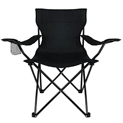 Campingstuhl Faltstuhl Klappstuhl Anglerstuhl Getränkehalter Stuhl Gartenstuhl bis 150 kg Schwarz