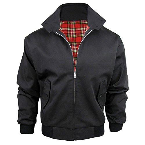 Harrington-Jacke mit kariertem Futter, gefertigt in Großbritannien, Herren, mit Reißverschluss, klassische Bomberjacke Gr. XL, schwarz - Xl Retro Bowling Shirt