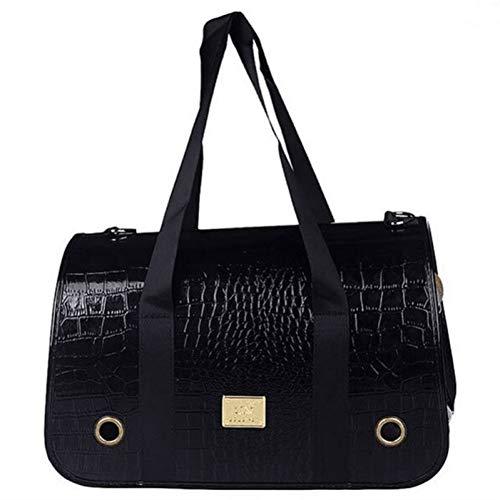 HLYMNB Luxus Haustier Umhängetasche Outdoor Teddy Doggy Bag PU Leder Plaid Cat Handtasche Reisetasche für Outdoor-Reise zu Fuß -