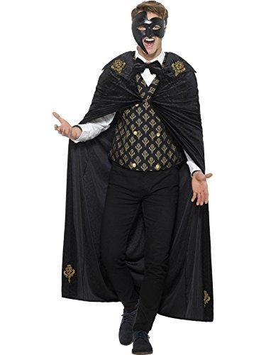 Smiffys, Herren Deluxe Phantom Kostüm, Umhang, Weste und Fliege, Größe: L, 48031 (Böse Hexe Des Westens Kostüm Für Erwachsene)