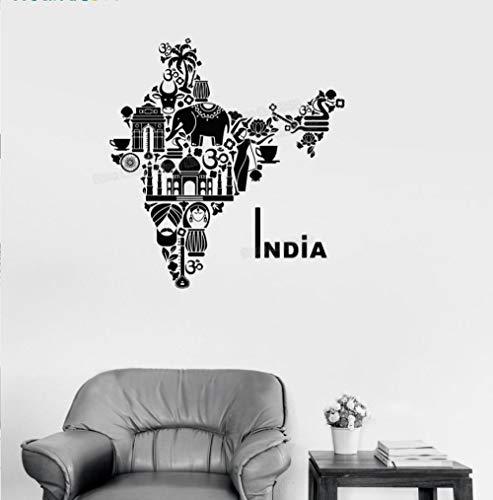 Einzigartige Form Vinyl Aufkleber Indien Karte Hindu Hinduismus Elefanten Symbole Wandaufkleber Steuern Dekor Wohnzimmer Kunst Einzigartiges Geschenk 56 * 60 cm