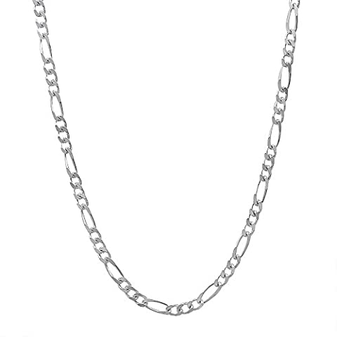 2.3mm Solid 925 Sterling Silver Figaro Link Italian Crafted Chain, 45 cm