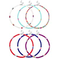 LOLIAS 6 Pcs African Surfer Choker Boho Necklace for Women Colorful Disc Bead Necklace Adjustable Handmade Beach Surfer Necklace Set for Holidays