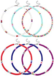 LOLIAS 6 Pcs African Surfer Choker Boho Necklace for Women Colorful Disc Bead Necklace Adjustable Handmade Bea