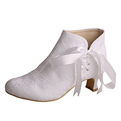 MW798 Women's Closed Toe Short Chunky Heel Ribbon Lace Wedding Dress Ankle Boots