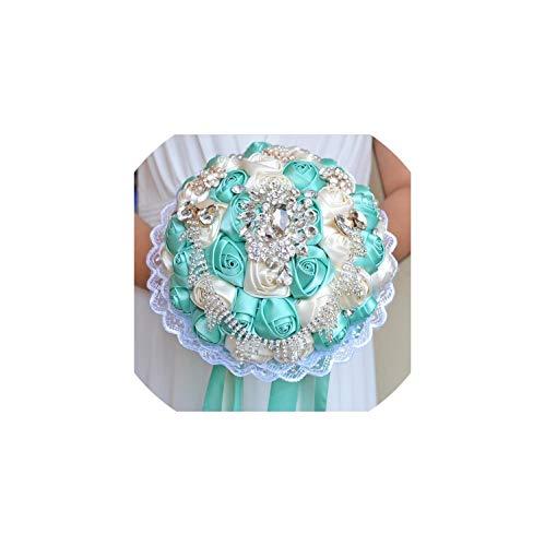 Kion Pasue bridal bouquets Brautsträuße für Hochzeit künstliche Satin-Rose Blumen mit Wulstige Braut-Holding-Brosche, Tiffany