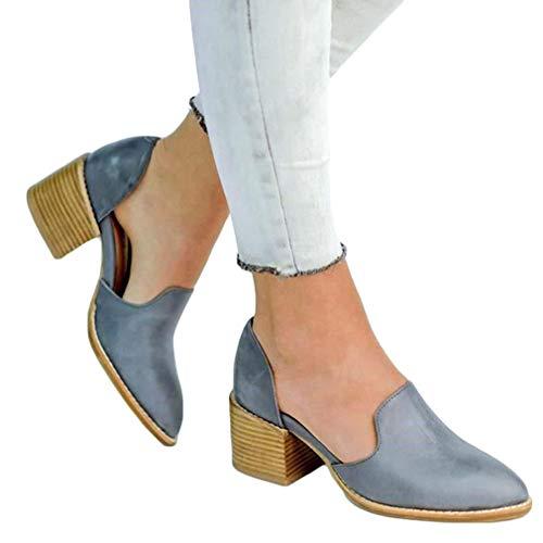 Mokassins Damen Heels Leder Pumps Loafer Blockabsatz 5cm Sommer Low Top Ankle Schuhe Elegante Vintage Flats Bequem Schwarz Blau Gr.35-43 BL35