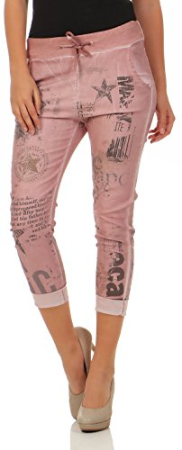 Malito Damen Jeans mit Muster   Hose mit Strass   Stretch Jeans im Denim Look   JoggJeans - Slim fit 7556 (rosa, S)