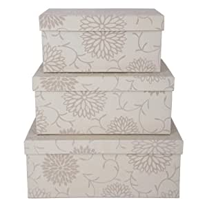 Set of 3 Cream Decorative Storage Boxes with Flocked Floral Finish