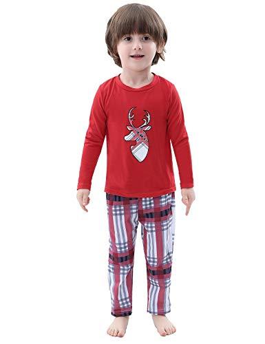 Abollria Family Christmas Pyjamas Set Passende Nachtwäsche Loungewear für Papa Mama Kinder Baby Hirsch Oberteile und Lange Hosen Nachtwäsche Outfits