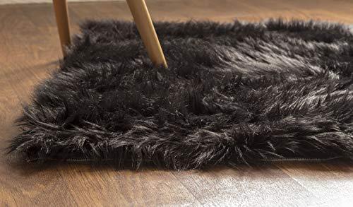 Shag Teppich Acryl (Serene Super Weiches Kunstfell-Shag seidig Teppich Baby Kinderzimmer Kinderzimmer Teppich, acryl, schwarz, 2' x 3')