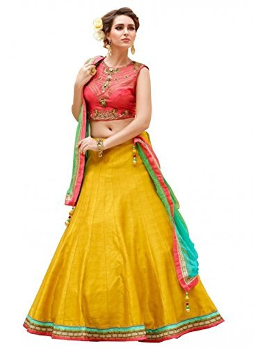 Sky Global Women\'s Embroidered Banglori Silk Lehenga Choli (Sky_273)