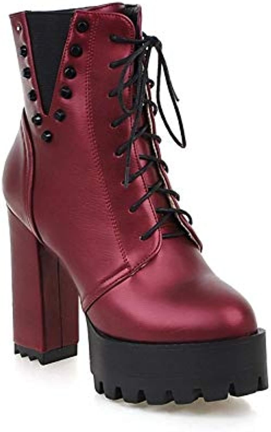 4a6c6850a58 Fashion rivets autumn and winter retro round head thick bottom bottom bottom  super high heel large size women s boots B07J6FVYBC Parent 079334