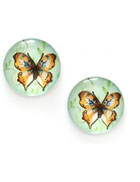 Idin Ohrclips - Braune Schmetterlinge, Druck auf Glas (ca. 18 mm)
