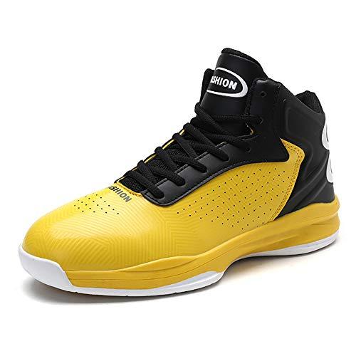 YUL 2019 neue männer basketball-schuhe frühling herbst basketball-schuhe high-top sneakers rutschfeste verschleißfesten,Yellow,42 (Größe 15-basketball-schuhe-männer)