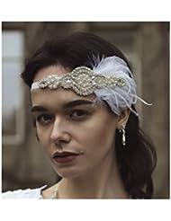 Starcrossed Beauty U76 Feder-Kopfschmuck, Haarreif im Der große Gatsby-Stil, 1920er Jahre-Stil, Weiß und Silberfarben, Vintage, mit Schmucksteinen