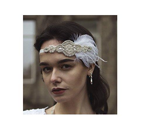 Starcrossed Beauty U76 Bandeau Années 1920 Vintage Plume Strass Blanc/argenté