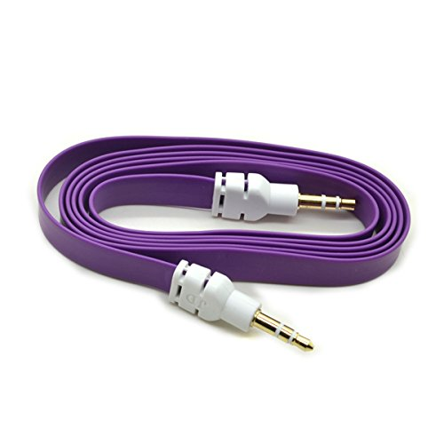 a-ok-quality-purple-35mm-aux-stereo-male-to-male-aux-flat-no-tangle-noodle-cable-cord-for-apple-ipad