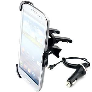 kwmobile KFZ Lüftungshalterung für das Samsung Galaxy S3 / S3 Neo - PKW Auto Halter Lüftungsschlitz in Schwarz + Ladegerät