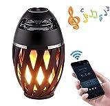 Love Life Drahtloser Bluetooth Lautsprecher LED Flamme leuchtet im freien tragbare LED Flamme atmosphäre Lampe Stereo Lautsprecher Outdoor Camping woofer mp3 Audio Player (schwarz)