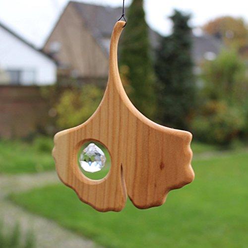 Fenster Deko zum Aufhängen | Ginkgoblatt aus Holz | Regenbogenkristall | Fensterschmuck | Ginkgo Fensterdeko