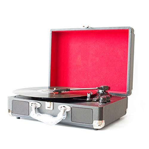 LOEROY Plattenspieler Schallplattenspieler Vinyl Motion, Aux-Eingang, Cinch-Ausgang, USB-Konvertierung, Bluetooth-fähig, Ultra-tragbare Aktentasche - Leder Plattenspieler-matte