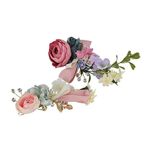 LJP Bridal Headband,Stirnband Tuch Reisen Künstliche Perlen Kristall Blume Hochzeit Geburtstag Erwachsene Party