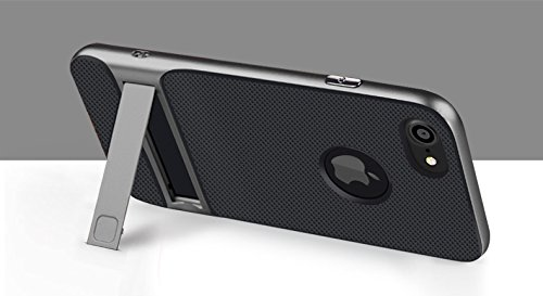 BCIT iPhone 7 Plus Hülle - Hybrid kratzfeste stoßdämpfende TPU +PC Bumper Frame Dual Layer Tasche Schutzhülle mit Ständer für iPhone 7 Plus - Grau Grau