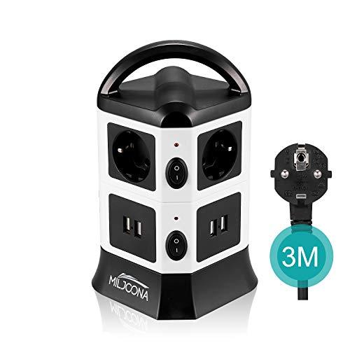 [2019 NEUEST] Mehrfachsteckdose 6 Flach mit 4 USB Steckdosenturm, Steckdosenleiste mit Schalter und 3M Kabel, Überspannungsschutz und Kurzschlussschutz für Zuhause Büro