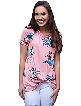 Camiseta de manga corta con diseño floral, color rosa
