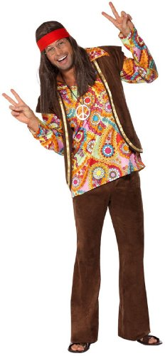 Smiffys, Herren Hippie Kostüm, Hemd, Hose und Weste, Größe: L, (Kostüm Braun Halloween Ideen)