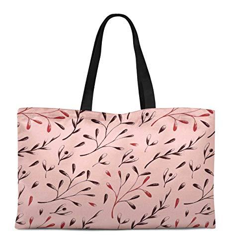 S4Sassy Rosa european ash Samen Blatter bedruckte wiederverwendbare Einkaufstasche Frauen Schulter Handtasche Reise Einkaufstasche 12x16 Zoll -