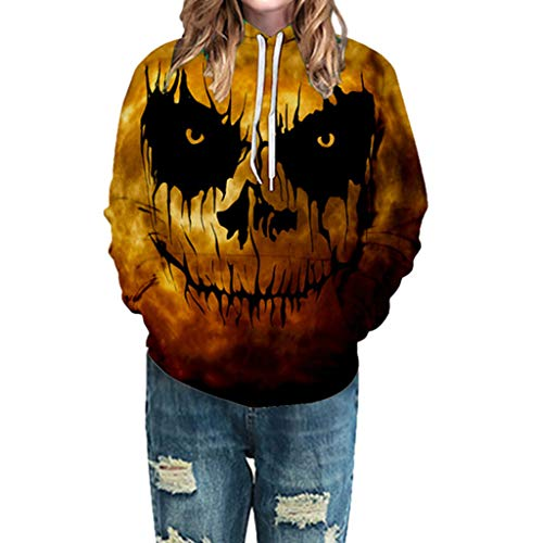 Größe Plus Daenerys Kostüm - EVAEVA Unisex Halloween Kapuzenpullover 3D Geist Druck Hoodie Plus Größe Pärchen Hoodie Kapuzenpulli mit Tasche Kordelzug Langarmshirts mit Kapuze Oberteile Sweater Kostüme