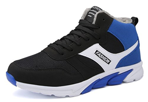 Mens High Top Warm Outdoor Athletic Walking Shoes Black Blue