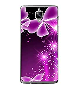 Fuson Designer Back Case Cover for OnePlus 3 :: OnePlus Three :: One Plus 3 (Pink Butterflies Glittery Bright Colourful)