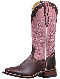 Botas americanas–Botas cowboy bo-5156-c (pie normal)–Mujer–Piel–Rosa/Marrón