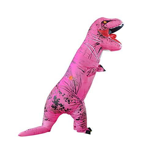 MIMI KING Dinosaurier Aufblasbare Kostüm Halloween Cosplay, Tyrannosaurus T-Rex Cosplay Für Erwachsene,Pink