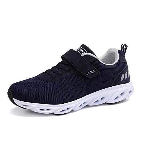 Ulogu Unisex Laufschuhe Outdoor Fitness Schuhe Leicht Atmungsaktiv Turnschuhe-Sneaker mit Klettverschluss, Gr.-45 EU, Blau