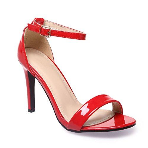 La Modeuse - Sandalesen simili cuir, aspect vernis Rouge