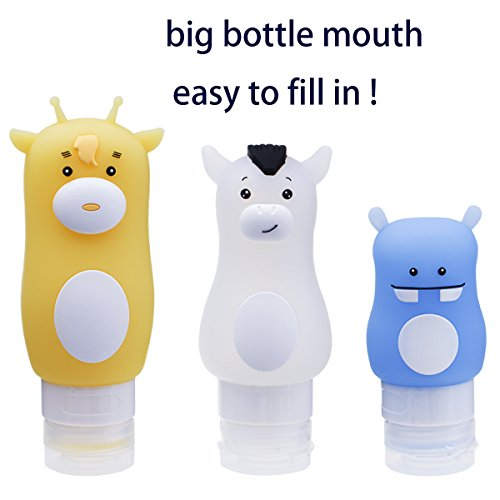 YoRHa Bouteilles portatives de silicone doux et de voyage Définir une preuve de fuite Conteneurs de silicone approuvés TSA 3 paquets Girafe jaune (90 ml) Blue Hippo (70ml) Cheval blanc (50 ml)