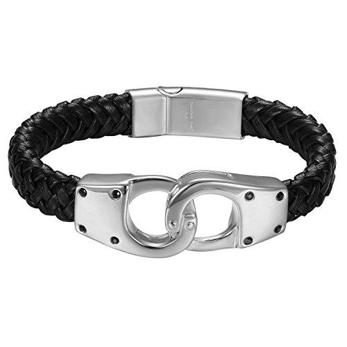 JewelryWe Schmuck Herren Armband, Edelstahl Handschellen verbindenDesign mit Leder Band Armreif, Silber schwarz