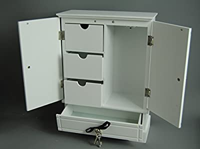 Large White Wardrobe Style Jewellery Trinket Box With Drawers and Spinning Necklace Hooks With Black Ribbon and Silver Keys