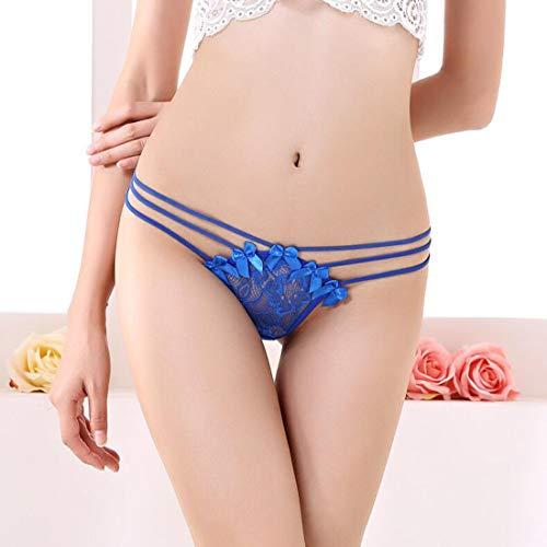 sucastle Damen Open Crotch Thongs V-String High Cut Unterwäsche für Damen Transparente weiche Spitze Slip Dessous Blumenspitze Dessous -