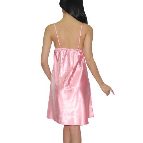 Eterno Womens Sexy Silk Gorgeous Sleepwear Dress / Nightgown - Pink Pink