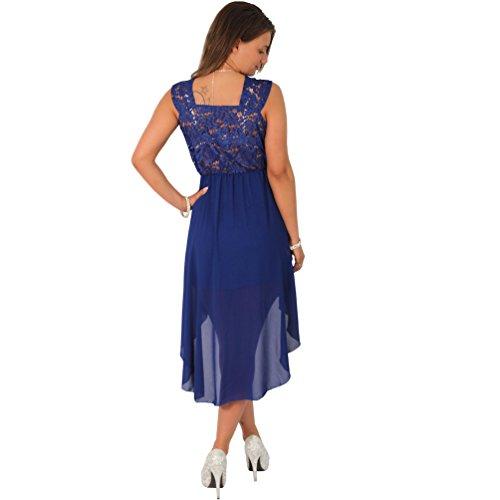 Cocktailkleid Tanzkleid Chiffon Minikleid Vokuhila Kleid Abendkleid Partykleid Spitze Royalblau