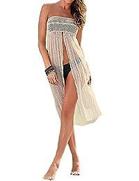 GenialES Pareo para Bañador Falda Playa para Mujer Beige Talla Unica Cintura 72-100cm, Longitud 92cm